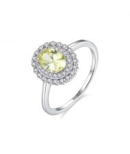 Olive Color Gem Inlaid Rhinestone Embellished Graceful 925 Sterling Silver Ring
