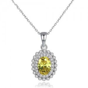 Olive Gem with Rhinestone Embellished Pendant 925 Sterling Silver Necklace