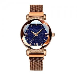 Starry Night Floral Pattern Design Index High Fashion Wrist Watch - Golden