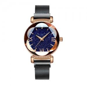 Starry Night Floral Pattern Design Index High Fashion Wrist Watch - Black