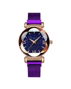 Starry Night Floral Pattern Design Index High Fashion Wrist Watch - Purple