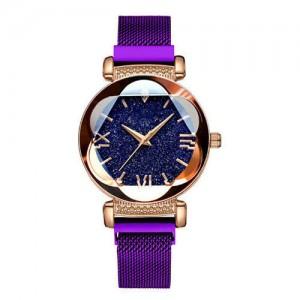Starry Night Floral Pattern Design Index High Fashion Wrist Watch - Purple