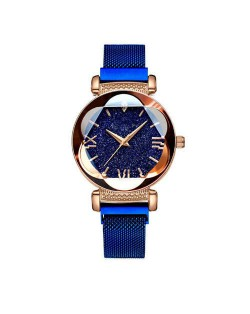 Starry Night Floral Pattern Design Index High Fashion Wrist Watch - Blue