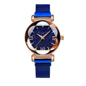 Starry Night Floral Pattern Design Index High Fashion Wrist Watch - Blue