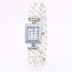 Silver Square Index Beads Style Women Wrist Watch - White