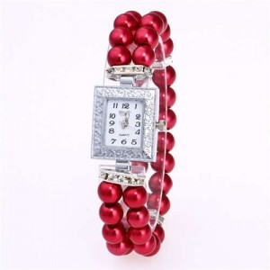 Silver Square Index Beads Style Women Wrist Watch - Red