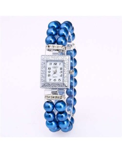Silver Square Index Beads Style Women Wrist Watch - Blue
