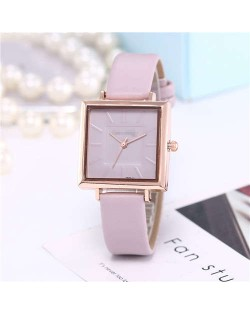High Fashion Sqaure Index Simple Design Wrist Watch - Violet