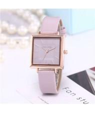 High Fashion Sqaure Index Simple Design Wrist Watch - Violet