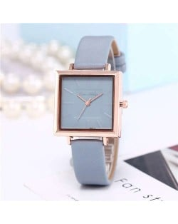 High Fashion Sqaure Index Simple Design Wrist Watch - Light Blue