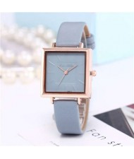 High Fashion Sqaure Index Simple Design Wrist Watch - Light Blue