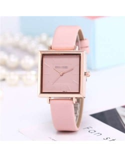 High Fashion Sqaure Index Simple Design Wrist Watch - Pink