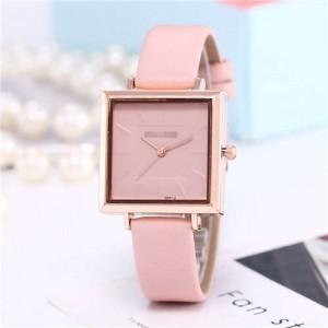 High Fashion Sqaure Index Simple Design Wrist Watch - Pink