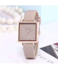 High Fashion Sqaure Index Simple Design Wrist Watch - Khaki