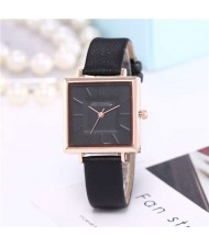 High Fashion Sqaure Index Simple Design Wrist Watch - Black