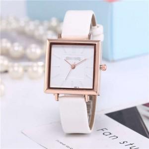 High Fashion Sqaure Index Simple Design Wrist Watch - White