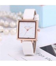 High Fashion Sqaure Index Simple Design Wrist Watch - White