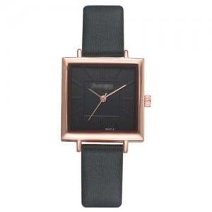 High Fashion Sqaure Index Simple Design Wrist Watch - Ink Green