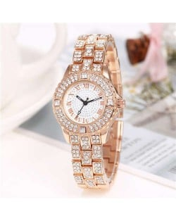 Shining Rhinestone Embellished Steel Women Wrist Watch - Rose Gold