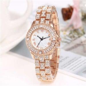 Shining Rhinestone Embellished Steel Women Wrist Watch - Rose Gold