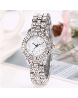 Shining Rhinestone Embellished Steel Women Wrist Watch - Silver