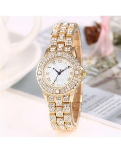 Shining Rhinestone Embellished Steel Women Wrist Watch - Golden