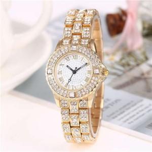 Shining Rhinestone Embellished Steel Women Wrist Watch - Golden
