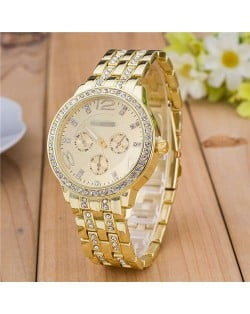 Rhinestone Inlaid Multiple Indexes Design Steel High Fashion Wrist Watch - Golden