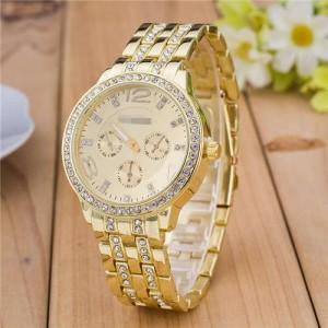 Rhinestone Inlaid Multiple Indexes Design Steel High Fashion Wrist Watch - Golden