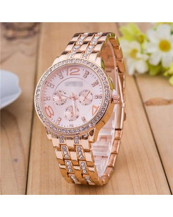 Rhinestone Inlaid Multiple Indexes Design Steel High Fashion Wrist Watch - Rose Gold