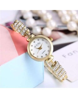 Rhinestone Embellished Unique Design High Fashion Women Wrist Watch - Golden