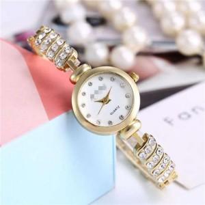 Rhinestone Embellished Unique Design High Fashion Women Wrist Watch - Golden