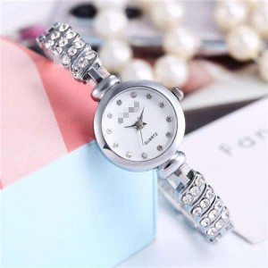 Rhinestone Embellished Unique Design High Fashion Women Wrist Watch - Silver