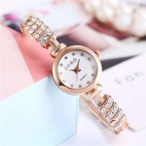 Rhinestone Embellished Unique Design High Fashion Women Wrist Watch - Rose Gold