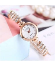 Rhinestone Embellished Unique Design High Fashion Women Wrist Watch - Rose Gold