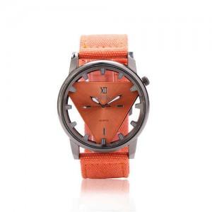 Unique Triangle Index Design High Fashion Men Watch - Orange