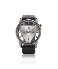 Unique Triangle Index Design High Fashion Men Watch - White