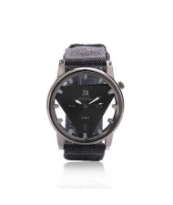 Unique Triangle Index Design High Fashion Men Watch - Black