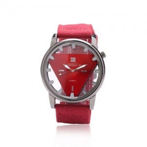 Unique Triangle Index Design High Fashion Men Watch - Red