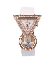 Rhinestone Rimmed Triangle Shape Design Index High Fashion Women Wrist Watch - White