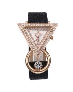 Rhinestone Rimmed Triangle Shape Design Index High Fashion Women Wrist Watch - Black