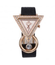 Rhinestone Rimmed Triangle Shape Design Index High Fashion Women Wrist Watch - Black