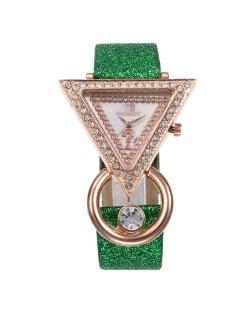 Rhinestone Rimmed Triangle Shape Design Index High Fashion Women Wrist Watch - Green