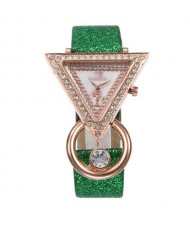 Rhinestone Rimmed Triangle Shape Design Index High Fashion Women Wrist Watch - Green