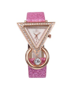 Rhinestone Rimmed Triangle Shape Design Index High Fashion Women Wrist Watch - Pink