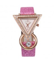 Rhinestone Rimmed Triangle Shape Design Index High Fashion Women Wrist Watch - Pink