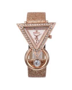 Rhinestone Rimmed Triangle Shape Design Index High Fashion Women Wrist Watch - Brown