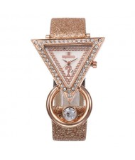 Rhinestone Rimmed Triangle Shape Design Index High Fashion Women Wrist Watch - Brown
