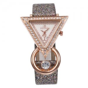 Rhinestone Rimmed Triangle Shape Design Index High Fashion Women Wrist Watch - Gray