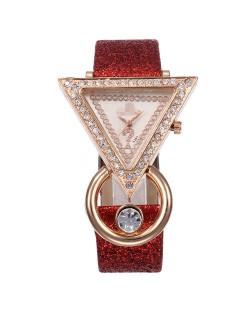 Rhinestone Rimmed Triangle Shape Design Index High Fashion Women Wrist Watch - Red